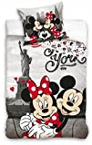Disney Mickey und Minnie Maus Single Bettbezug Kinder Bettwäsche Set 140 x 200 cm 100% Baumwolle Kinder Schlafzimmer Dekoration