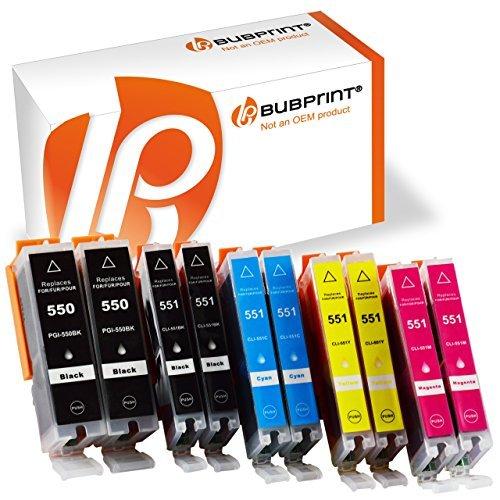 Preisvergleich Produktbild Bubprint 10er Set Druckerpatrone Kompatibel Für Canon Pixma MX925 IP7250 MG5650 MX725 Drucker Canon PGI-550 XL PGBK PGI-550BK CLI-551 XL Mit Chip