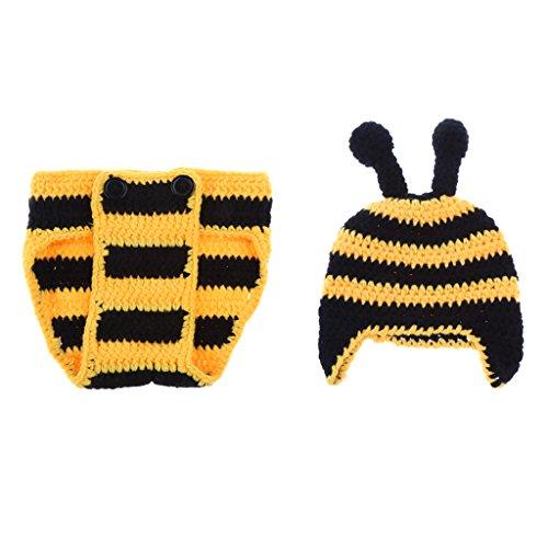 MagiDeal Neugeborenes Baby Strick Kleidung Kostüm Foto Prop Outfits Bekleidung Set - Bienen-Sets, wie beschrieben (Neugeborene Biene Kostüm)