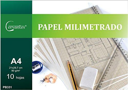 Cervantes PB331 - Sobre con 10 hojas de papel milimetrado, A4, 21 x 29.7 cm
