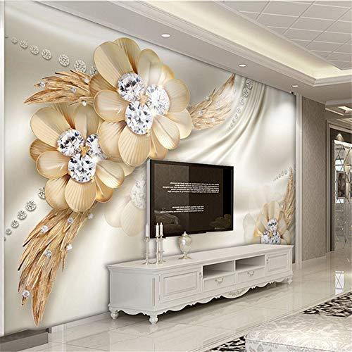Fushoulu 3D Stereo Relief Goldene Diamant Schmuck Foto Wandbild Tapete Wohnzimmer Tv Sofa Hintergrund Tapeten Luxus-200X140Cm