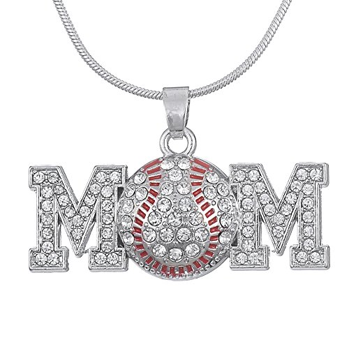 Kristall klar Baseball Mom Anhänger Halskette Sports Fan Schmuck