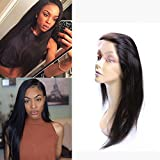 PURUN Lace Frontal 360 Brazilian Hair Virgin Human Hair Full Front Lace Ear to Ear with Baby Hair Bleached Knows 18inches-360 Closure