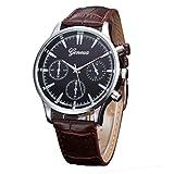 Kingwo Damen Uhren, Damen Armbanduhr Neue Herren Retro-Design Lederband Analog Legierung Quarz Armbanduhr (B)