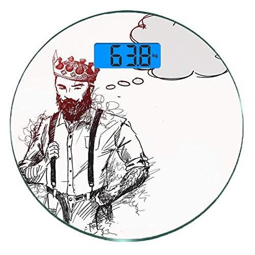 Digitale Präzisionswaage für das Körpergewicht Runde Indie Ultra dünne ausgeglichenes Glas-Badezimmerwaage-genaue Gewichts-Maße,Cooler Hipster-König Character mit der Krone und denkender Blasen-Skizze