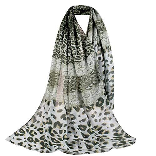 Fular de Mujer Pañuelo de Señora Hilado Balinés Estampado de Piel de Serpiente y Leopardo Largo Bufanda Moda Elegante Playa Estolas