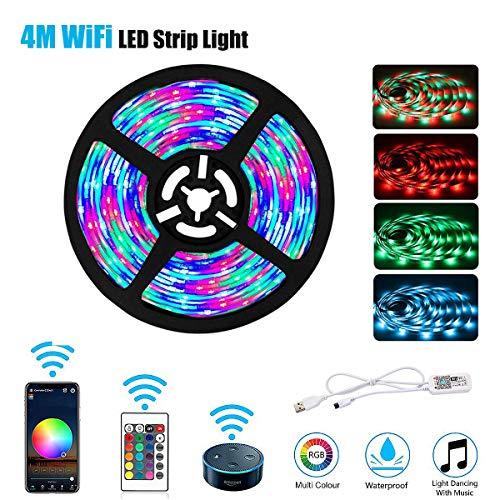 Tiras de luz LED, WiFi inteligente impermeable USB alimentado cinta flexible 5V 4M 5050 RGB