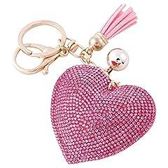 Idea Regalo - Soleebee Portachiavi in pelle cuore d'amore Bling Cristallo Portachiavi auto Fascino accessori per borse e Personalizzare Zaino con le nappe (Rosa)