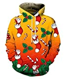 EOWJEED Natale Felpa con cappuccio da giapponese Natale Felpa con cappuccio da uomo a maniche lunghe per gli amanti L
