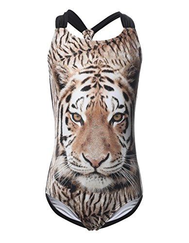 iDrawl Mädchen Badeanzüge mit Tiger Druck UV Schutz Sommer Bademode Baby Anzug,6-8 Jahre
