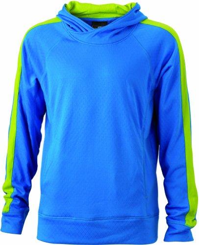 James & Nicholson Herren Sweatshirt Kapuzenpullover Sweatshirt Men's' Hooded aqua/acid-yellow