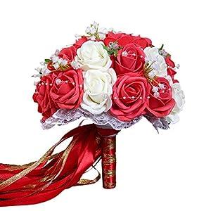 Godagoda Flor Boda Bouquets de Boda Ramo de Novia Perlas Flores Artificiales decoración Accesorios Encaje, Blanco, Talla…
