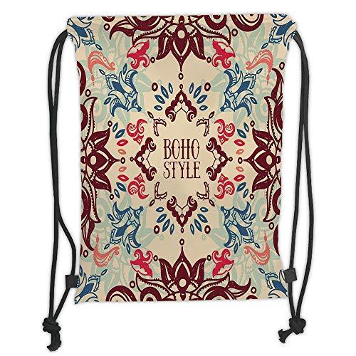 Juzijiang Drawstring Sack Backpacks Bags,Flower,Arabesque Ornate Floral Vivid Traditional Ethnic Boho Elegance Pattern,Maroon Beige Violet Blue Soft Satin Closu,5 Liter Capacity,Adjustable. Arabesque Flower