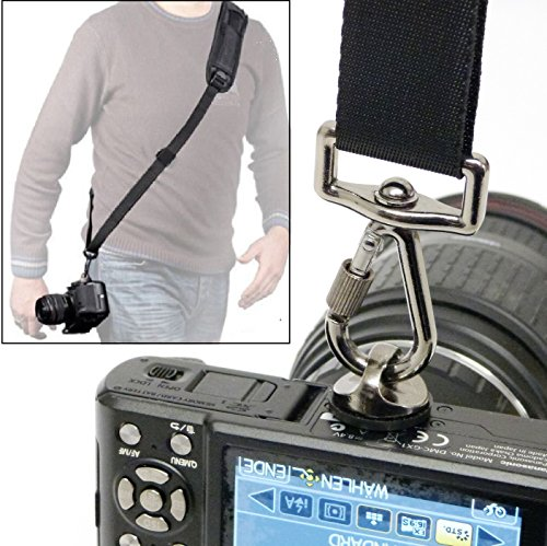 Preisvergleich Produktbild fuer Panasonic Lumix FZ82 - LOOKit Quick Sling Slider-Strap Kamera Schultergurt mit optimaler Druckverteilung