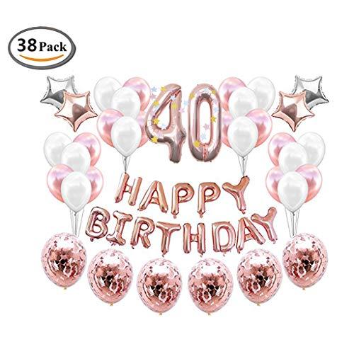 ICheap Konfetti Latex Luftballons Rosegold Weiß, Happy Birthday Ballons, 40th Geburtstag für Baby Shower Girl Adult Geburtstag Party Dekorationen (40th)