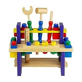 Nuheby Kit Attrezzi per Bambini 42 PCS Cassetta Attrezzi in Legno da Lavoro Giochi per Bambini Giochi Educativi Giochi…