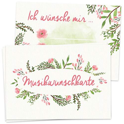 50 Musikwunschkarten für Hochzeit/Geburtstag Freshflower Blumen DIN A7 300g Musikwunsch DJ Karte