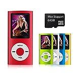 mymahdi–Digital, kompakte und tragbare MP3/MP4Player (Max unterstützt 64GB Micro-SD-Karte) mit Photo Viewer, E-Book Reader und Voice Recorder und FM Radio Video Movie in rot