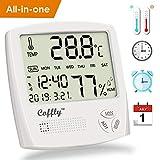 Coffly™ Termometro Igrometro Digitale Termoigrometro Interno con Funzione Sveglia, Orologio e Calendario, Misuratore di umidità e Temperatura Ambiente