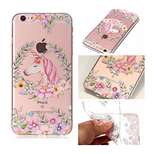 iPhone 6s Plus Custodia, Cartoon unicorno unicorn - TPU Silicone Trasparente Nuovo Gel Soft Case iPhone 6 Plus / 6S Plus Custodia 5.5 durevole Cartoon Cover, Prova di scossa anti-graffio # # 7