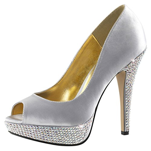 Satin high heels femme-argent (argent) Argent - Silber (Silber)