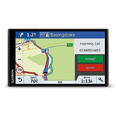 Garmin DriveSmart 61 LMT-D EU Navigationsgerät (17,65 cm (6,95 Zoll) rahmenloses Touchdisplay, Europa (Traffic via DAB+ oder Smartphone Link) lebenslang Kartenupdates & Verkehrsinfos, Smart (Navi Sprachsteuerung)
