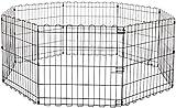 AmazonBasics - Recinzione in metallo per cani, pieghevole, per l'esercizio, 152,4 x 152,4 x 60,9 cm