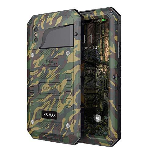 Beeasy Hülle Kompatibel mit iPhone XS Max, [Wasserdicht] Stoßfest Outdoor Handy Case Militärstandard Schutzhülle mit Displayschutz Robust Metall Schutz vor Stürzen Stößen Heavy Duty Handyhülle,Camo Silikon Iphone-fall