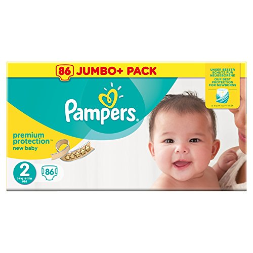 Pampers New Baby Size 2, 86 Nappies Jumbo+ Pack