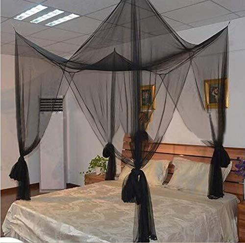 Y · Z4 Post Corner Baldachin Moskitonetz Netting Einzel-Doppelbett Camping, schwarz - Einzel-post-zubehör