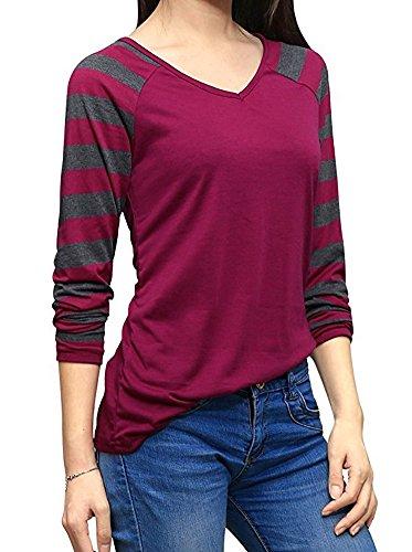 BOLAWOO Donna Camicia Autunno Elegante Manica Lunga Unico A Righe Ragazze Camicie V Neck Casual Sciolto Maglietta Slim Fit Moda Top T-Shirt Giuntura Bordeaux