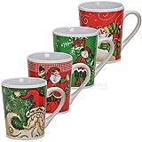 matches21 Tassen Becher Weihnachtstassen Keramik witzige Weihnachtsmotive bunt 4er Set 10 cm / 300 ml