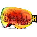Ski Goggles Pro - Homeme Snow Goggles with UV 400 Double Lens Anti-fog for Women & Man (Red)