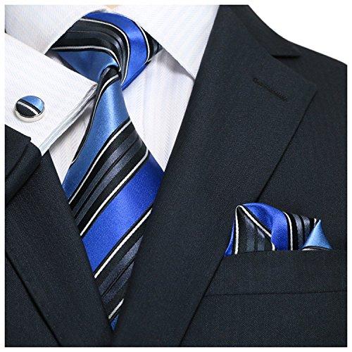Landisun 69H Streifen Männer Seide Krawatten Set, Schwarz Blau, 59'Länge, 3.75' Breite (Breite Streifen-krawatte)