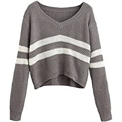 ShallGood Mujeres Otoño Invierno Jerséy Suéter a Rayas Cuello V Casual Manga Larga Tejido de Punto Jumper Tops Gris One Size (ES 34-42)