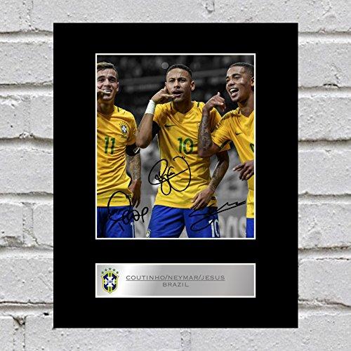 Photo dédicacée imprimée sur support de Philippe Coutinho, Neymar Jr et Gabriel Jesus, excellente idée cadeau