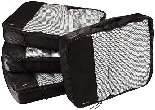 AmazonBasics Packing Cubes - Large (4-Piece Set), Black