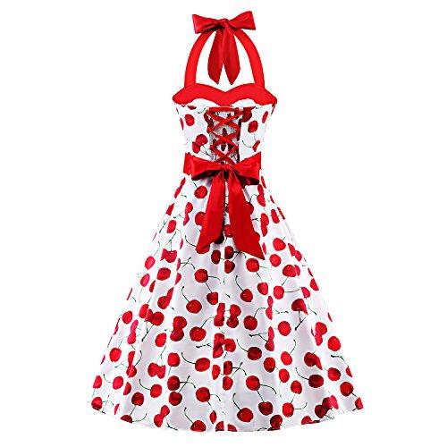 ILover Vintage Rockabilly 50er Polka Dots Kleid in mehreren Farben V064-WhiteCherry