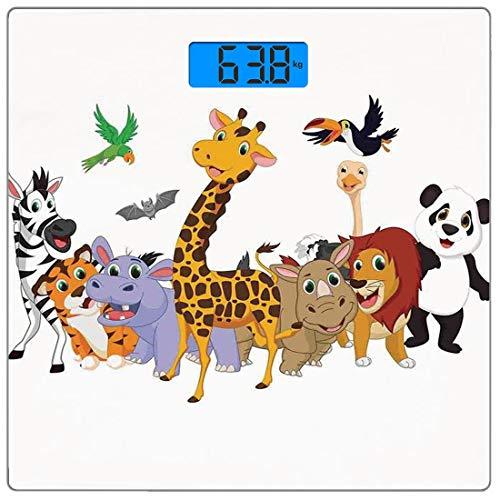 Bilancia digitale di precisione piazza bambini Misurazioni accurate del peso della bilancia pesapersone in vetro ultra sottile,Colorati animali della giungla ippopotamo pipistrello pappagallo zebra ri