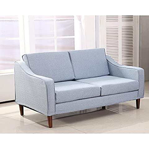HOMCOM Linen 2 Seater Sofa Double Seat Armchair Couch Chaise Lounge Chair Living Room Loveseat Lounger Modern Furniture Wooden Frame Detachable Cover