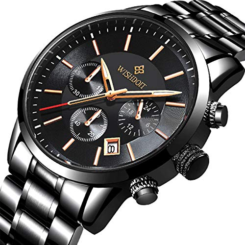fe791c455930 Reloj Negro Fino para Hombre Lujo Moda Relojes de Pulsera para Hombres  Vestir Casual Deportes Impermeable