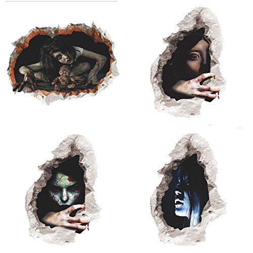 Jiayiqi 4Pcs Halloween Geist Zombie Tapete Wand Abziehbild Hauptpartei Dekorationen 45X60cm
