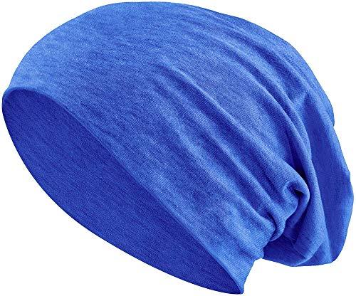 Jersey Baumwolle elastisches Long Slouch Beanie Unisex Mütze Heather in 35 (3) (Jeans-Blue) Long Blue Denim