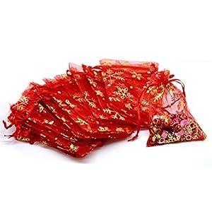 HooAMI 100Stk. 9cm x 12cm Rot Orange Organza Säckchen mit Gelb Schneeflocke Geschenkbeutel Beutel Weihnachten Säckli