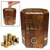 WhopperIndia Handmade Wooden Money Bank, Banco de almacenamiento de monedas perfecto para niños