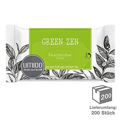 200 x UMIDO Feuchttücher Grüner Tee - 10 Pflegetücher - Kosmetiktücher - Abschminktücher - Hygienetücher - 200 x 10 Tücher (11.)