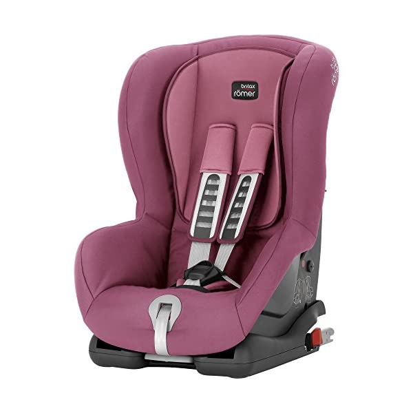 Britax Römer DUO PLUS Group 1 (9-18kg) Car Seat & DUO PLUS Top Tether Kit - Wine Rose  This versatile car seat can be installed with the 3-point seat belt or ISOFIX and Top Tether (Top Tether Included) Comfort without compromise - deep, padded side wings and multi-position recline Pivot link system to reduce forward movement in the event of an accident 2