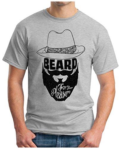 OM3 - BEARD-FOR-HER-PLEASURE - T-Shirt BART KULT HIPSTER BLOGGER CULT OLDSCHOOL ART GEEK NYC, S - 5XL Grau Meliert