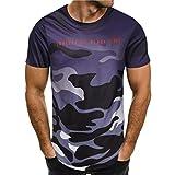 VEMOW Sommer Heißer Verkauf Mode Persönlichkeit Camouflage Männer Casual Täglich Schlank Kurzarm-Shirt Top Bluse Pullover T-Shirts(Lila, EU-52/CN-M)