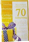 Glückwunschkarte Zum Geburtstag - 70 Jahre - Herzlichen Glückwunsch zum Geburtstag - Gelbes Geschenk mit Schleife - Mehrfarbig - mit Briefumschlag
